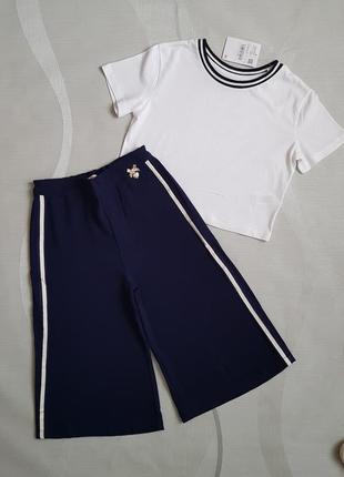 💥модный комплект для девочки: кроп топ оверсайз и лёгкие брюки- кюлоты