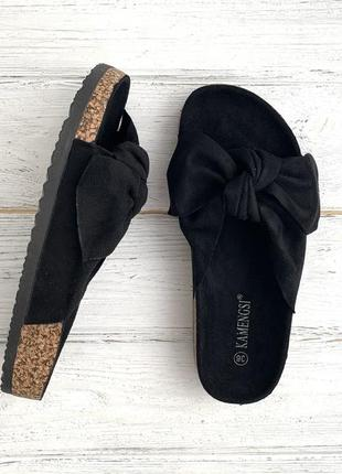 Женские черные шлёпки { шлепки, тапки, босоножки, сандалии} с бантиком