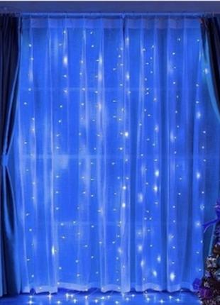Гирлянда светодиодная водопад 280 led, прозрачный шнур 3х1,5 м (синий)