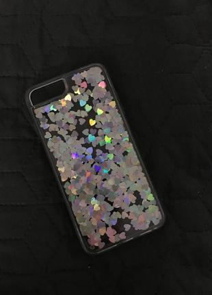 Прозрачный чехол на iphone 7+, 8+ с плавающими сердцами