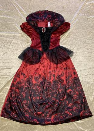 Шикарное бархатное карнавальное платье карнавальный костюм малефисенты на 3-4 и 7-8 лет