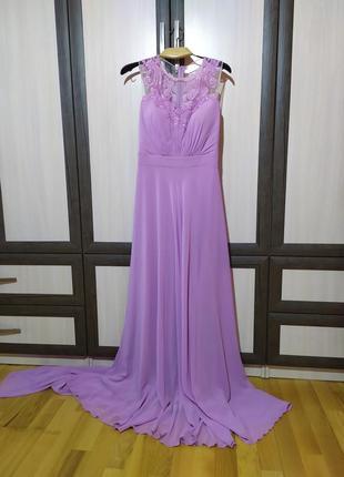 Вечернее длинное платье с шлейфом.