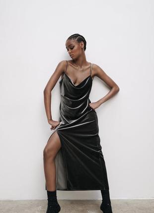 Бархатное платье zara в бельевом стиле