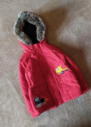 Ярко красная детская куртка парка на синтипоне и флисе