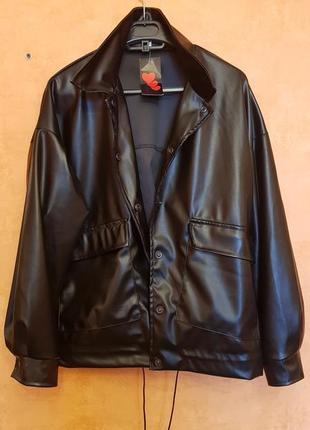 Черная куртка-рубашка эко кожа