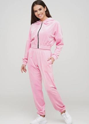 Велюровый женский костюм для дома и отдыха ( кофта с капюшоном + штаны)   44 46 размер