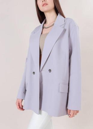 Пиджак свободного кроя серый
