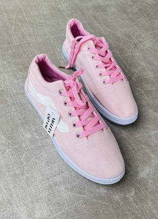 Розовые кеды текстиль/ 3 цвета