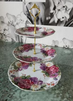 Фруктовница, конфетница трехярусная interos, керамика, цветы
