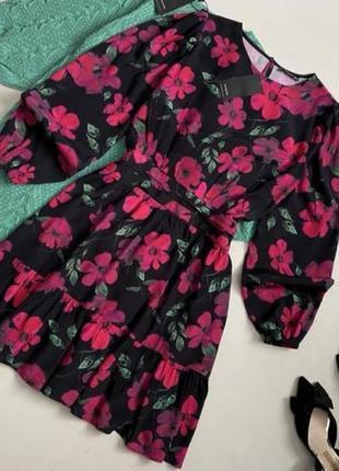 Платье из вискозы в цветочный принт
