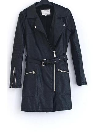 Шикарное пальто из кожзама с мехом (мех съемный)