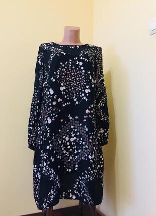 Модное черное платье миди в мелкий цветочек вискоза george