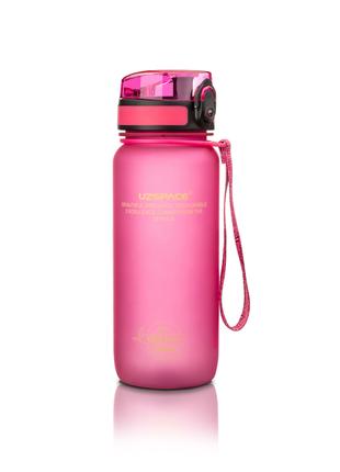 Бутылка для воды в зал и на прогулку uzspace 650 мл розовая