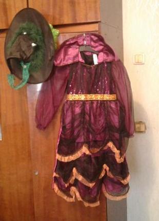 Детский нарядный костюм ведьмы 9-10 лет ( шляпа светится )