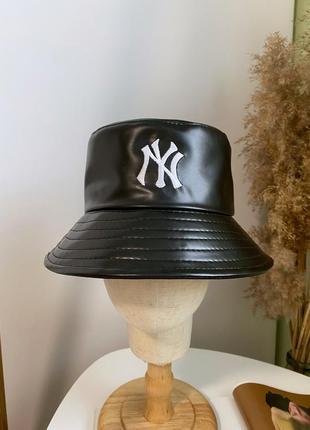 Эко-кожаная панама чёрная ny new york женская мужская унисекс