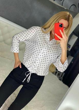 Женские роскошные рубашки в горошек