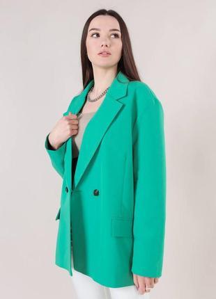 Пиджак свободного кроя  зеленый