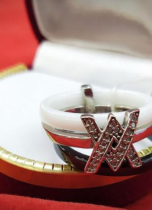 Тройное кольцо в серебре с керамикой и фианитами арт 970192563