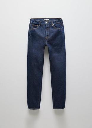Zara классические мужские джинсы прямого кроя цвет чистый синий индиго