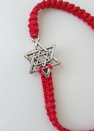 Браслет на руку красная нить плетеный звезда давида