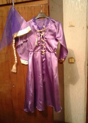 Детский карнавальный костюм рапунцель 6-8 лет