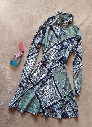 Стильное платье рубашка вискоза в орнамент цветочный принт