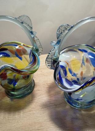 Красивые вазочки конфетницы из цветного стекла / ссср, 50е года