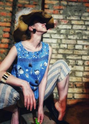 Блуза льняная без рукавов лен вискоза next в принт цветы с кружевом прошвой майка