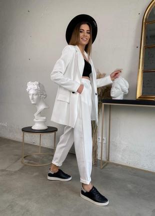 Женский трендовый костюм ( пиджак + брюки бананы)