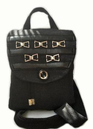 Чёрный джинсовый рюкзак с бантиками