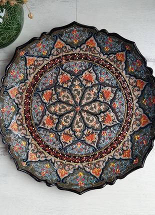 Узбекская тарелка блюдо ляган точечная роспись