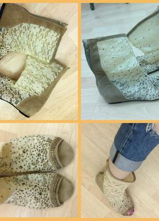 Летние сапоги туфли сетка камни стразы змейка гипюр кружево