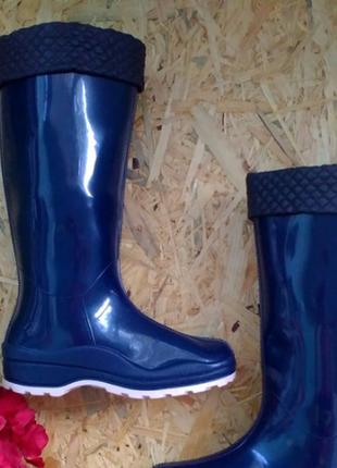 Резиновые сапоги леди утепленные синий 36-41р