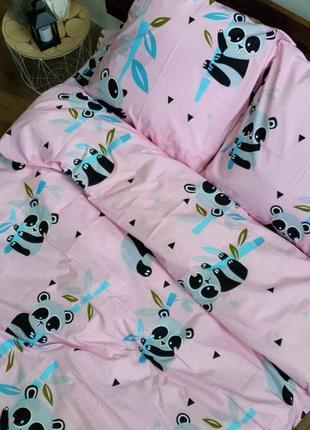 Детская бязь ranforse - панды на розовом
