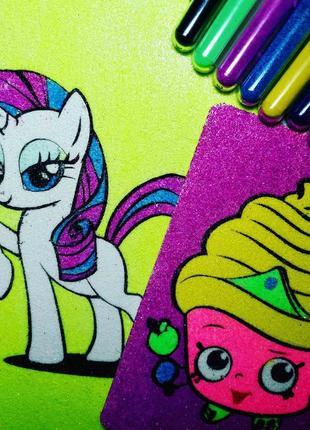 Картини кольоровим піском поні і тістечко