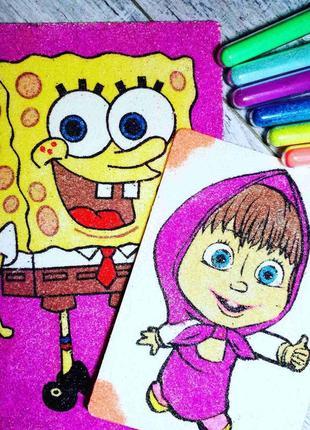Картини кольоровим піском губка і дівчинка
