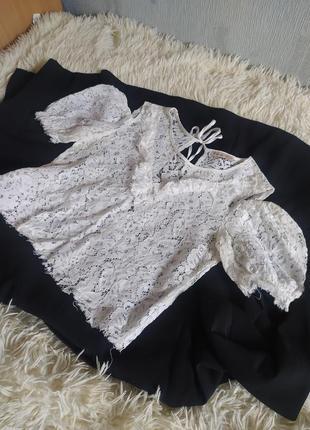 Топ кружевной блуза блузка обьъемные плечи вырез спина