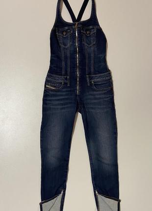 Итальянский джинсовый комбинезон джинс на шлейках, бренд diesel, s m