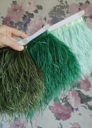 Зелёные мятные перья страуса на ленте