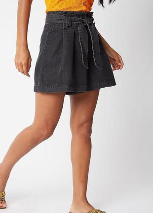 Джинсовые шорты юбка с поясом на талию george