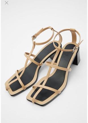 Кожаные босоножки ,сандалии zara.