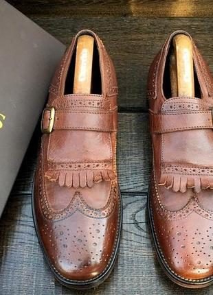 Doucal's. кожаные мужские туфли монки с бахромой. hand made in italy.