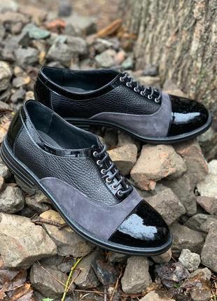 Туфли женские, натуральная кожа, чёрный цвет