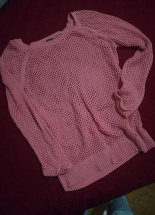 Нежный свитер сетка кольчуга вязаный крючком