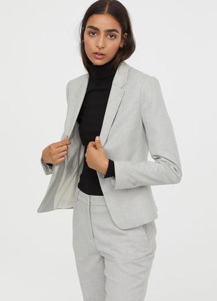 Брендовый серый пиджак жакет блейзер с карманами h&m вискоза этикетка