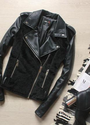 Кожаная куртка косуха fb sister/ кожанка с мехом / дефект