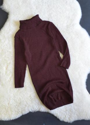 Удлиненный свитерок  с горлышком винного цвета (на рост до 180 , можно как платье)