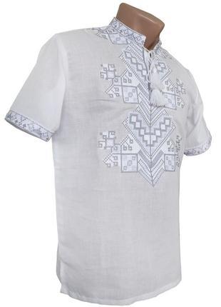 Чоловіча вишиванка на домотканному полотні білим по білому
