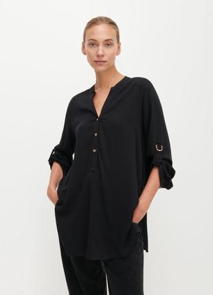 Удлиненная черная туника - рубашка, блуза натуральная
