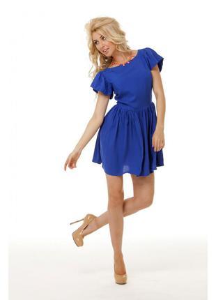 Платье короткое/синее платье/шифон/женское короткое платье